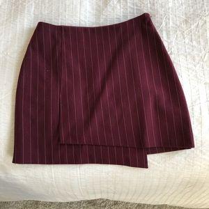 Skirts - Pin striped asymmetrical burgundy skirt